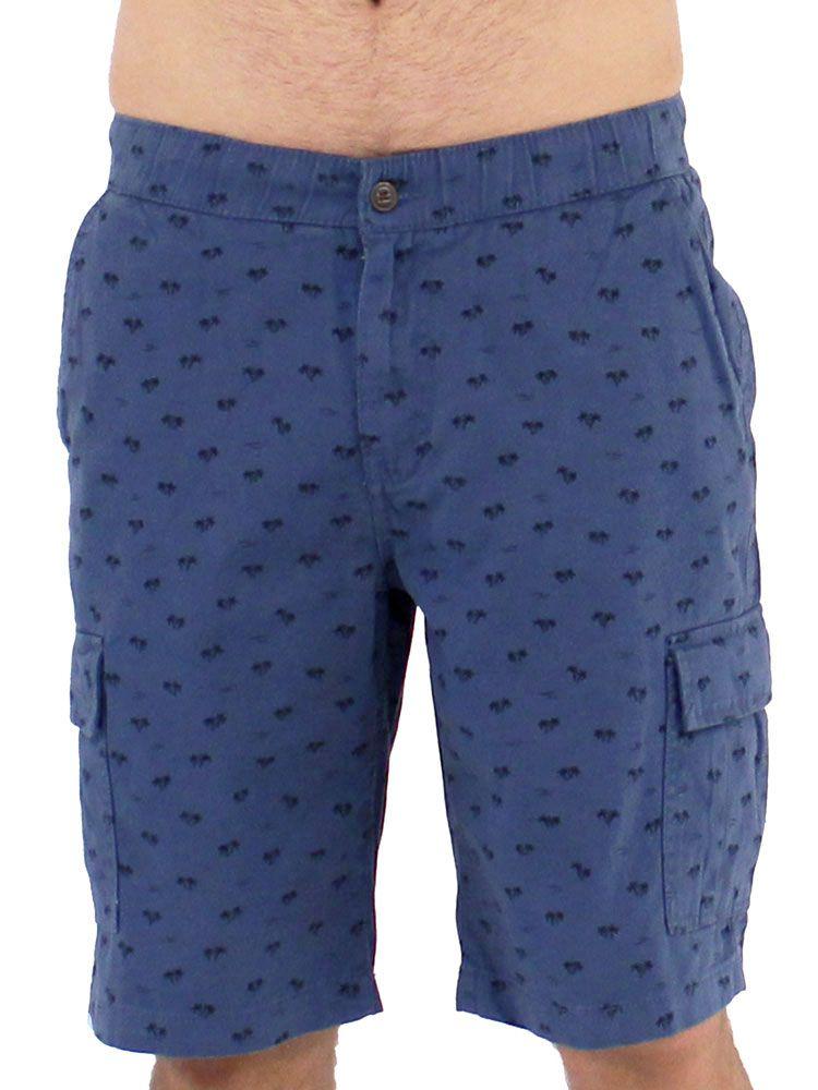 Bermuda Casual de Sarja Cargo Anistia Cós de Elástico Azul Jeans