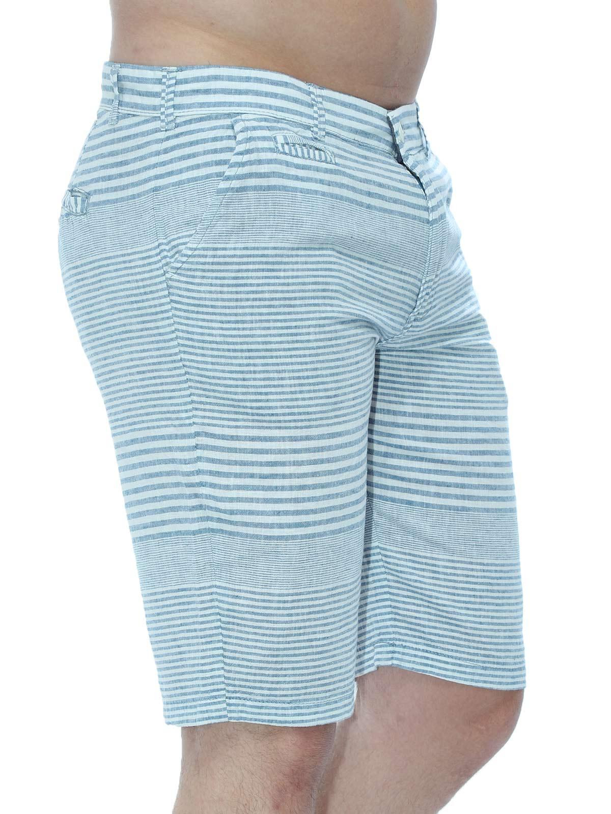 Bermuda Masculina Listrada de Linho Anistia Azul