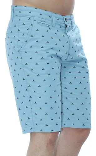 Bermuda Masculina Sarja Algodão Bordada Anistia Azul