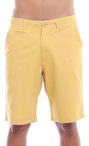Bermuda Masculina Sarja Lisa Casual Algodão Anistia Amarelo Queimado