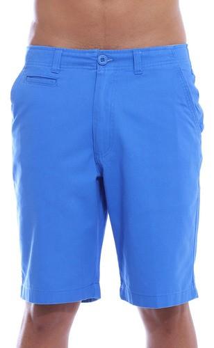 Bermuda Masculina Sarja Lisa Casual Algodão Anistia Azul