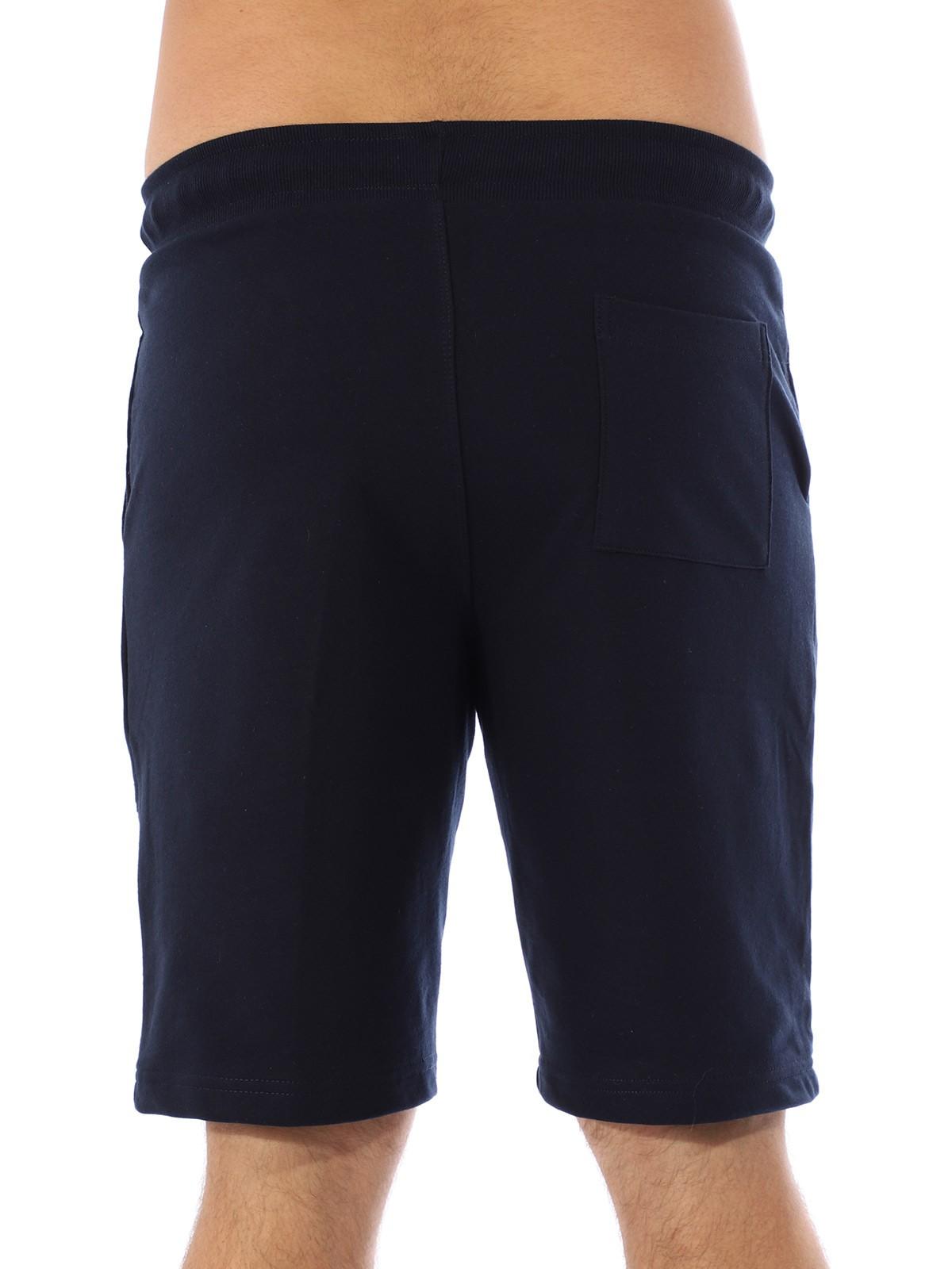 Bermuda Moletom Masculina Academia Com Bolsos Azul Marinho