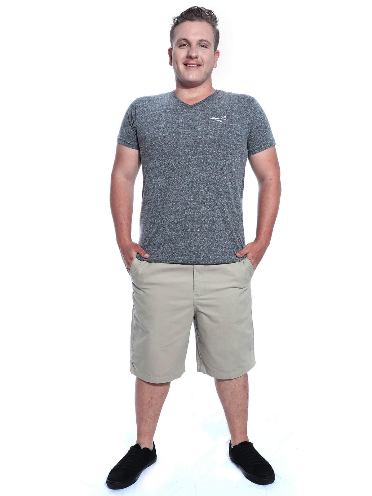 Bermuda Plus Size Masculina Sarja Com Elástico Areia