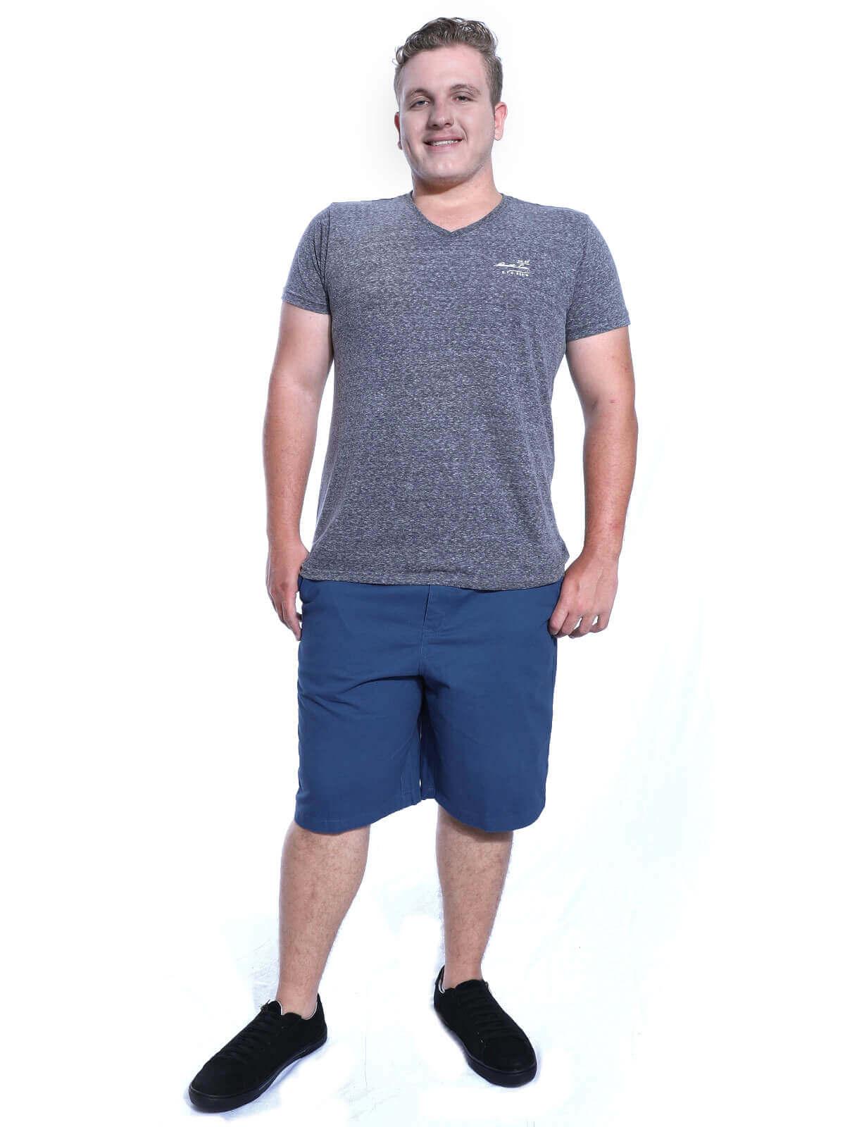 Bermuda Plus Size Masculina Sarja Com Elástico Azul Jeans
