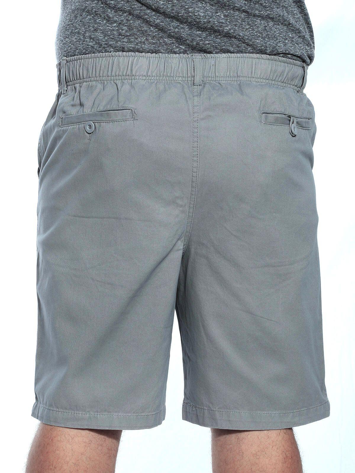 Bermuda Plus Size Masculina Sarja Com Elástico Cinza