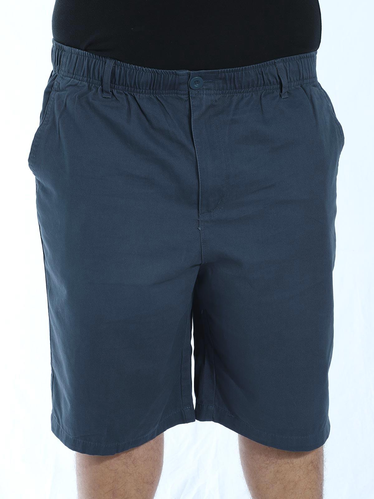 Bermuda Plus Size Masculina Sarja Com Elástico Marinho