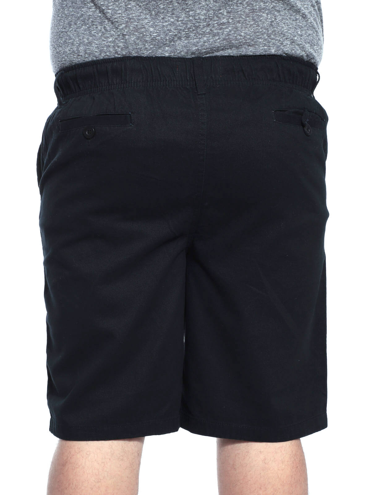 Bermuda Plus Size Masculina Sarja Com Elástico Preta