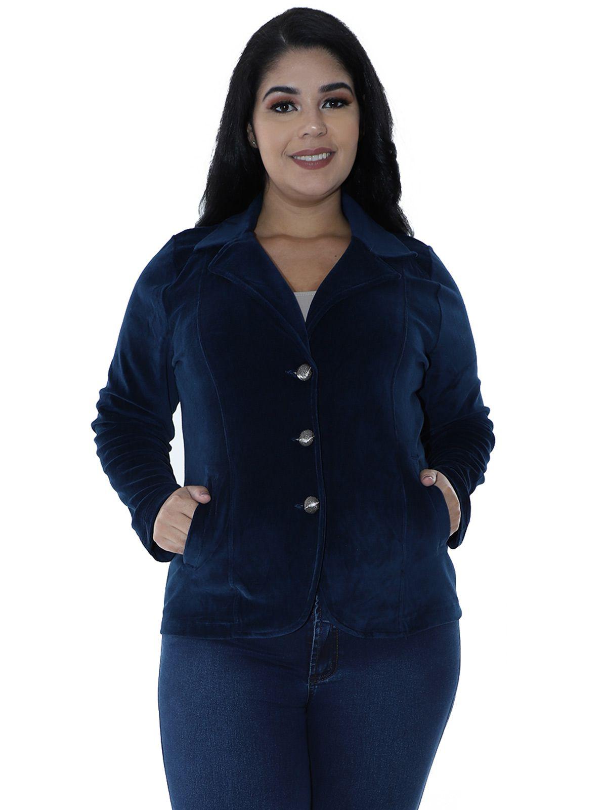 Blazer Plus Size de Plush Azul Marinho