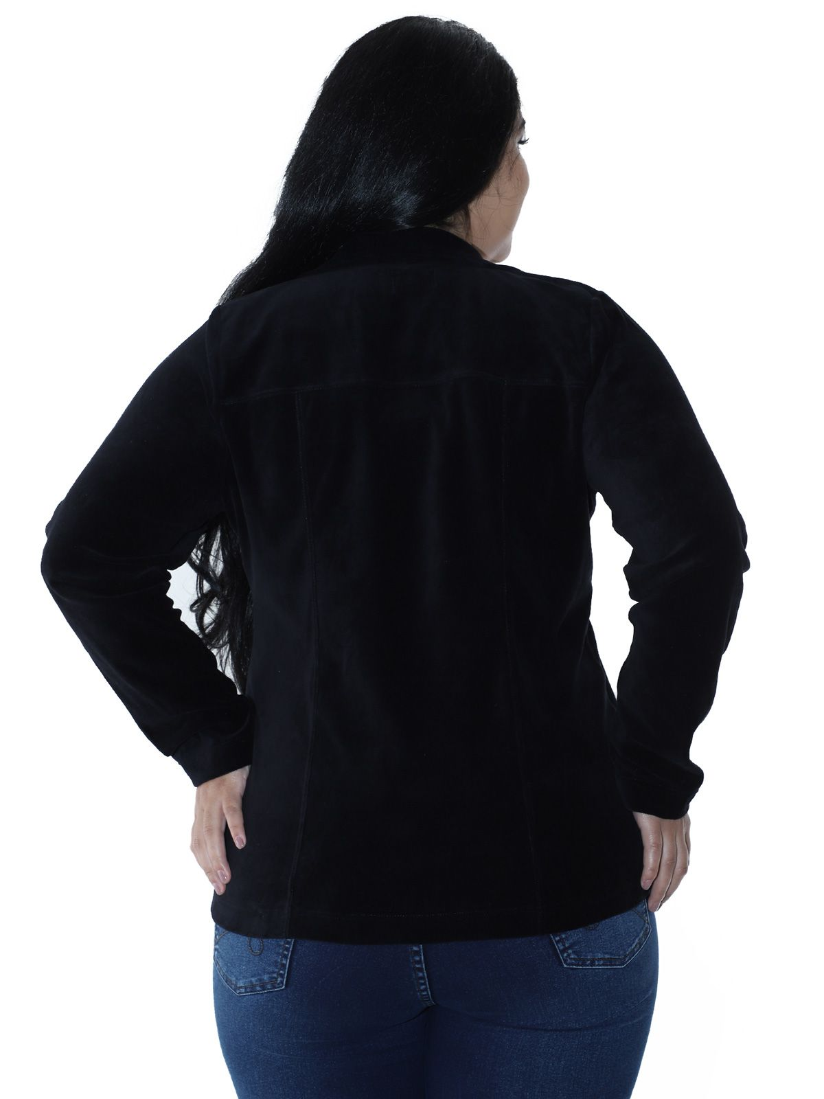 Blazer Plus Size de Plush Preto