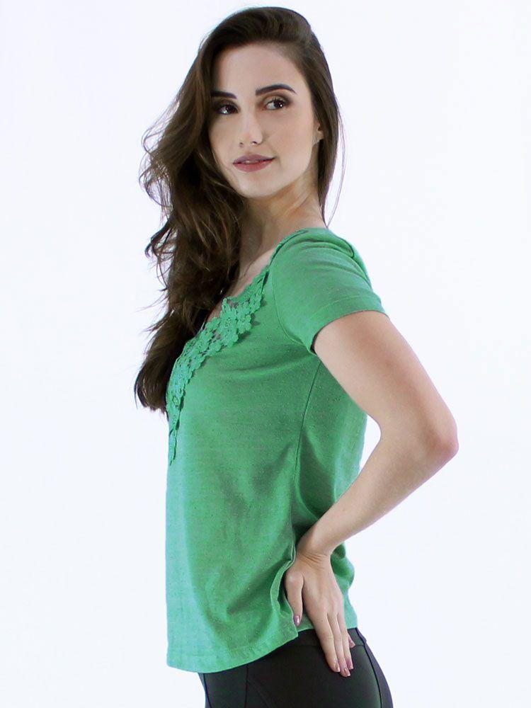Blusa Anistia com Renda de Guipir Verde