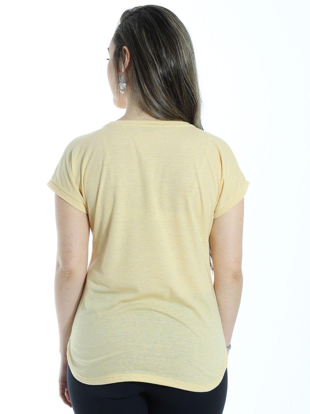 Blusa Anistia Recortes Ombro Amarelo