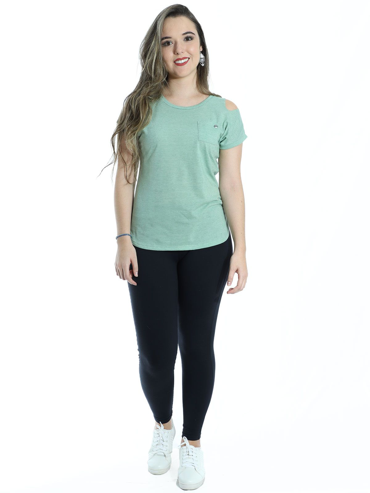 Blusa Anistia Recortes Ombro Verde