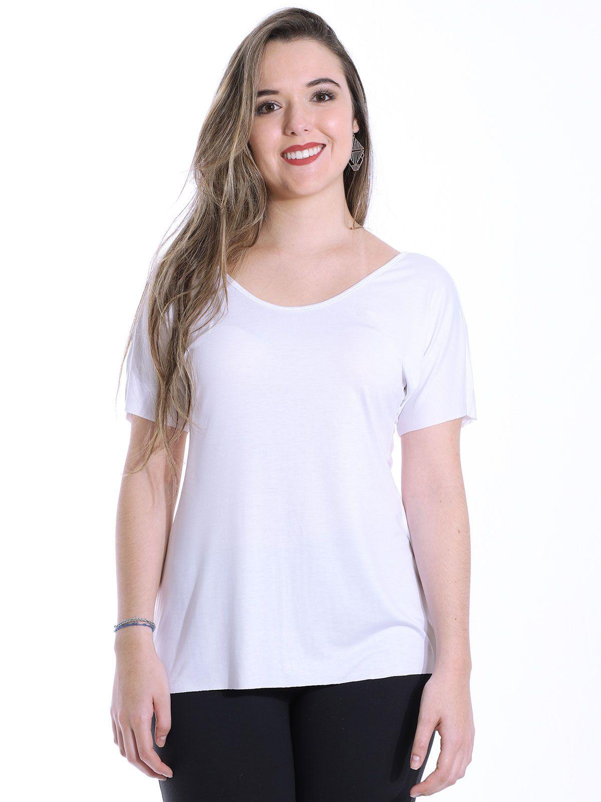 Blusa Anistia Viscolycra Costa com Renda de Guipir Branco