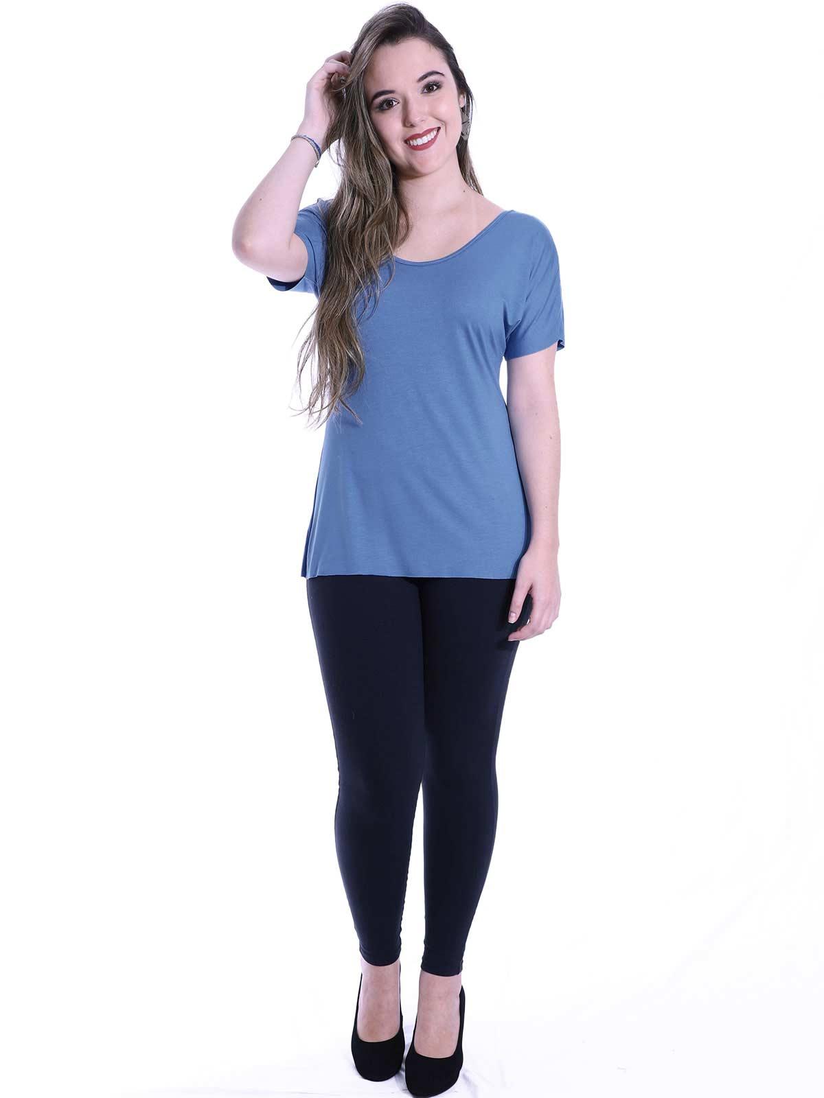 Blusa Anistia Viscolycra Costa com Renda de Guipir Jeans