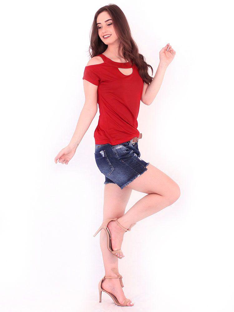Blusa Anistia Viscolycra Decote Diferenciado Vermelho