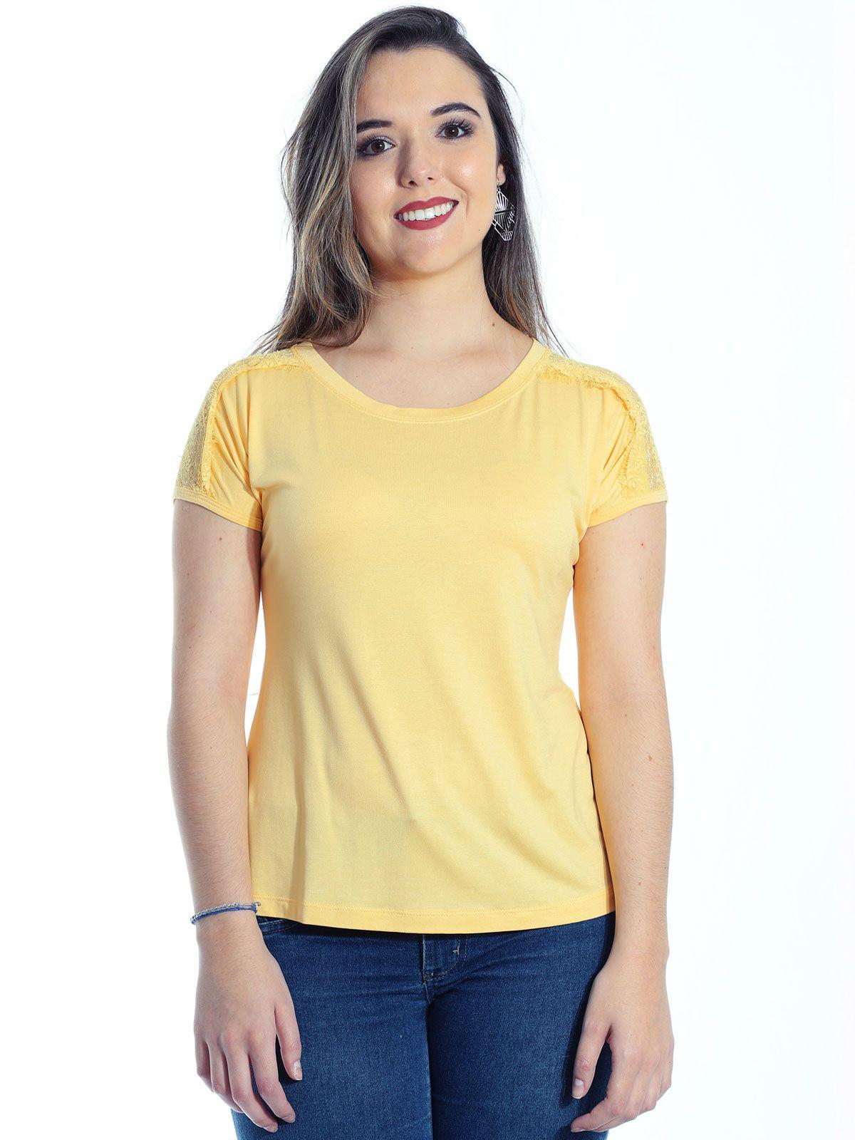 Blusa Anistia Viscolycra Ombros com Renda Amarelo