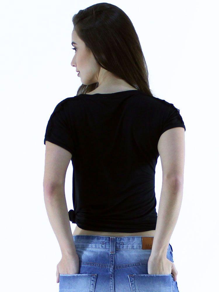 Blusa Anistia Viscolycra Ombros com Renda Preto