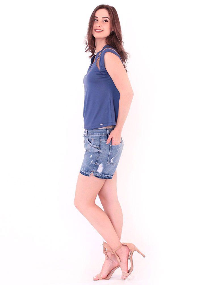 Blusa Anistia Viscolycra Recortes em Tule Azul