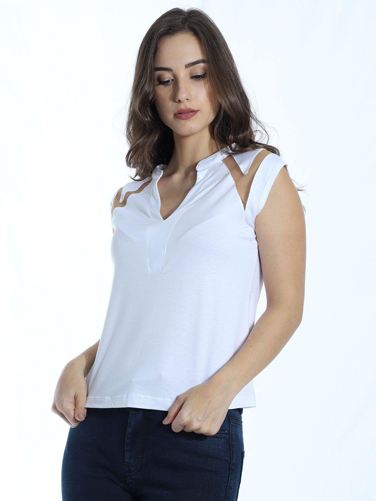Blusa Anistia Viscolycra Recortes em Tule Branco
