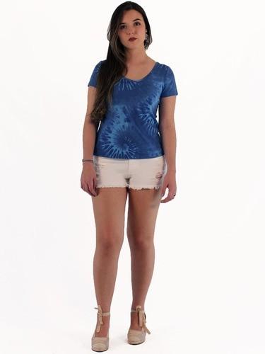 Blusa Camiseta Feminina Tie Dye Macia Manga Curta Azul