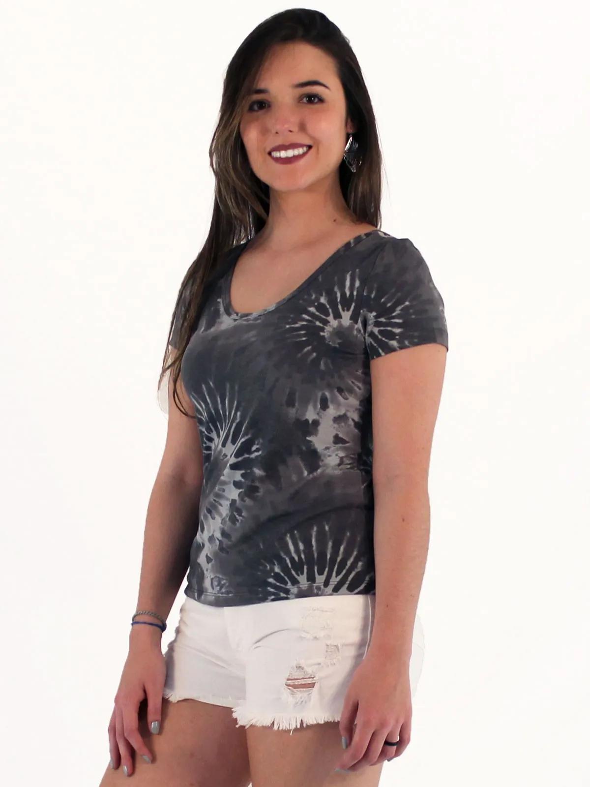 Blusa Camiseta Feminina Tie Dye Macia Manga Curta Preto