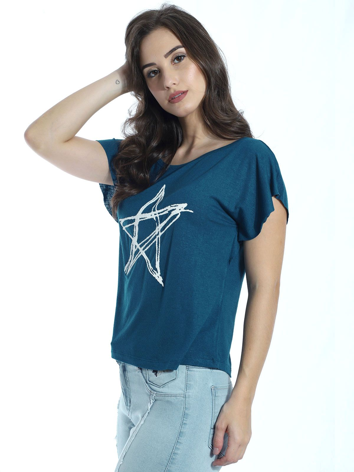 Blusa com Aplicação Estrela Anistia Azul Marinho