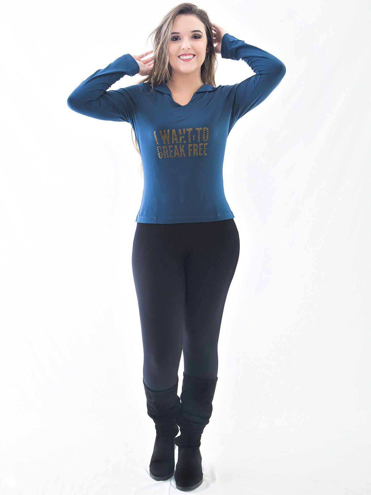 Blusa Com Capuz e Estampa Metalizada Manga Longa Anistia Azul Jeans