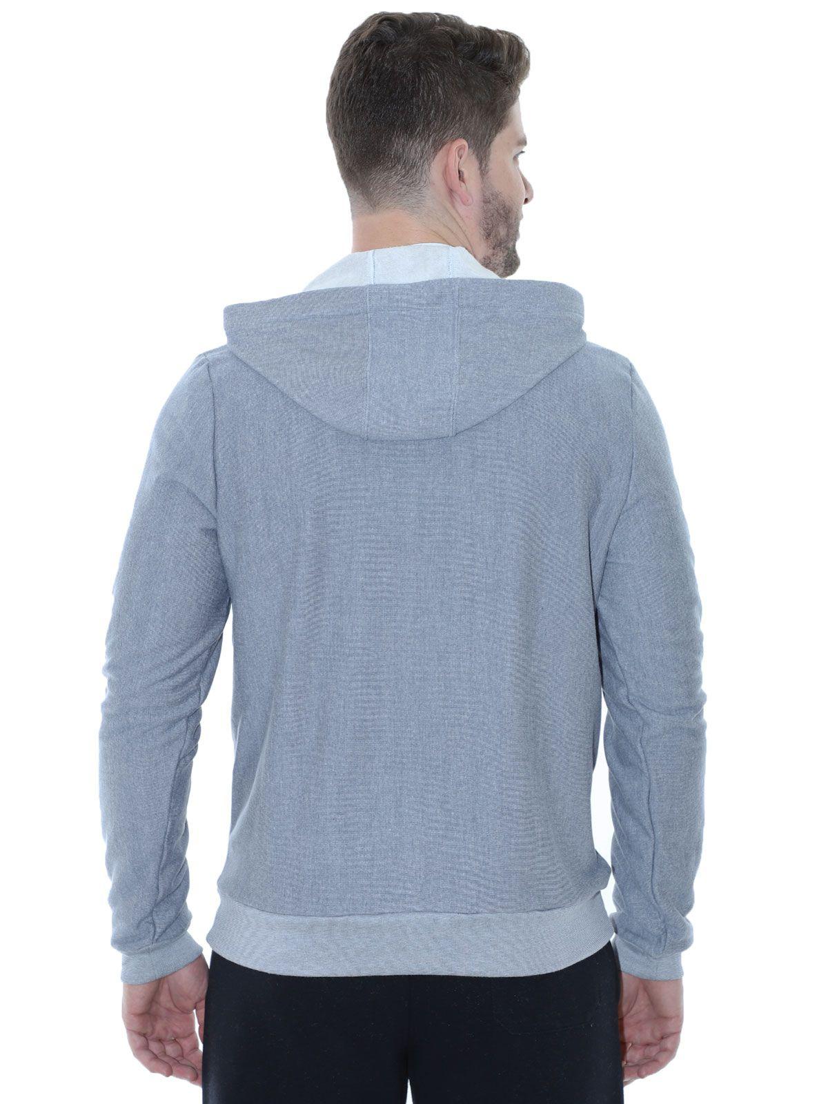 Blusa de Moletom com Capuz Felpado Azul Jeans