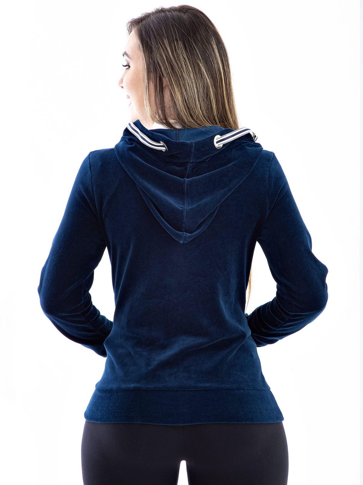 Blusa de Plush Anistia Ilhois no Capuz Azul Marinho