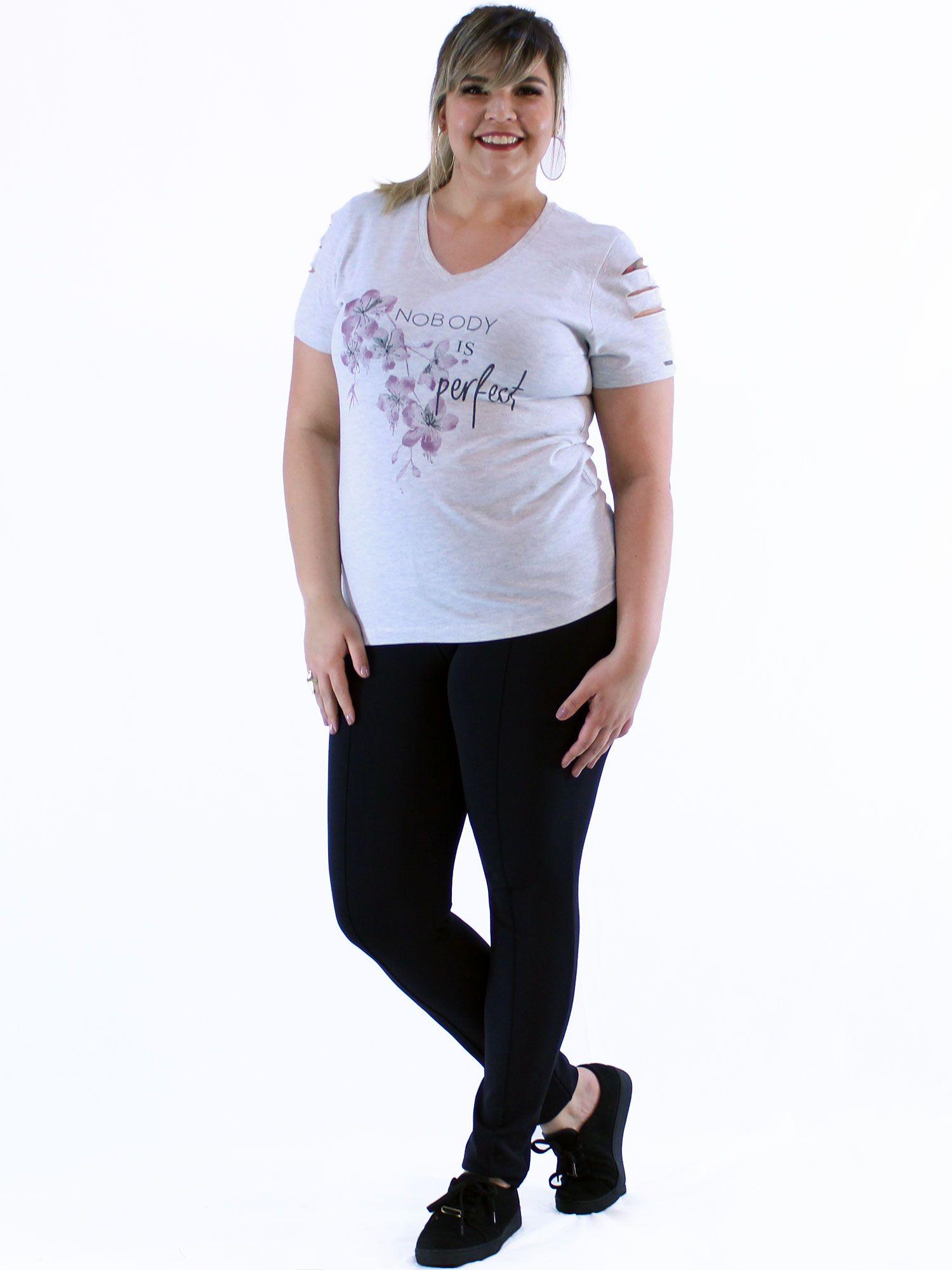 Blusa Decote V Plus Size KTS com Estampa Flor Mescla