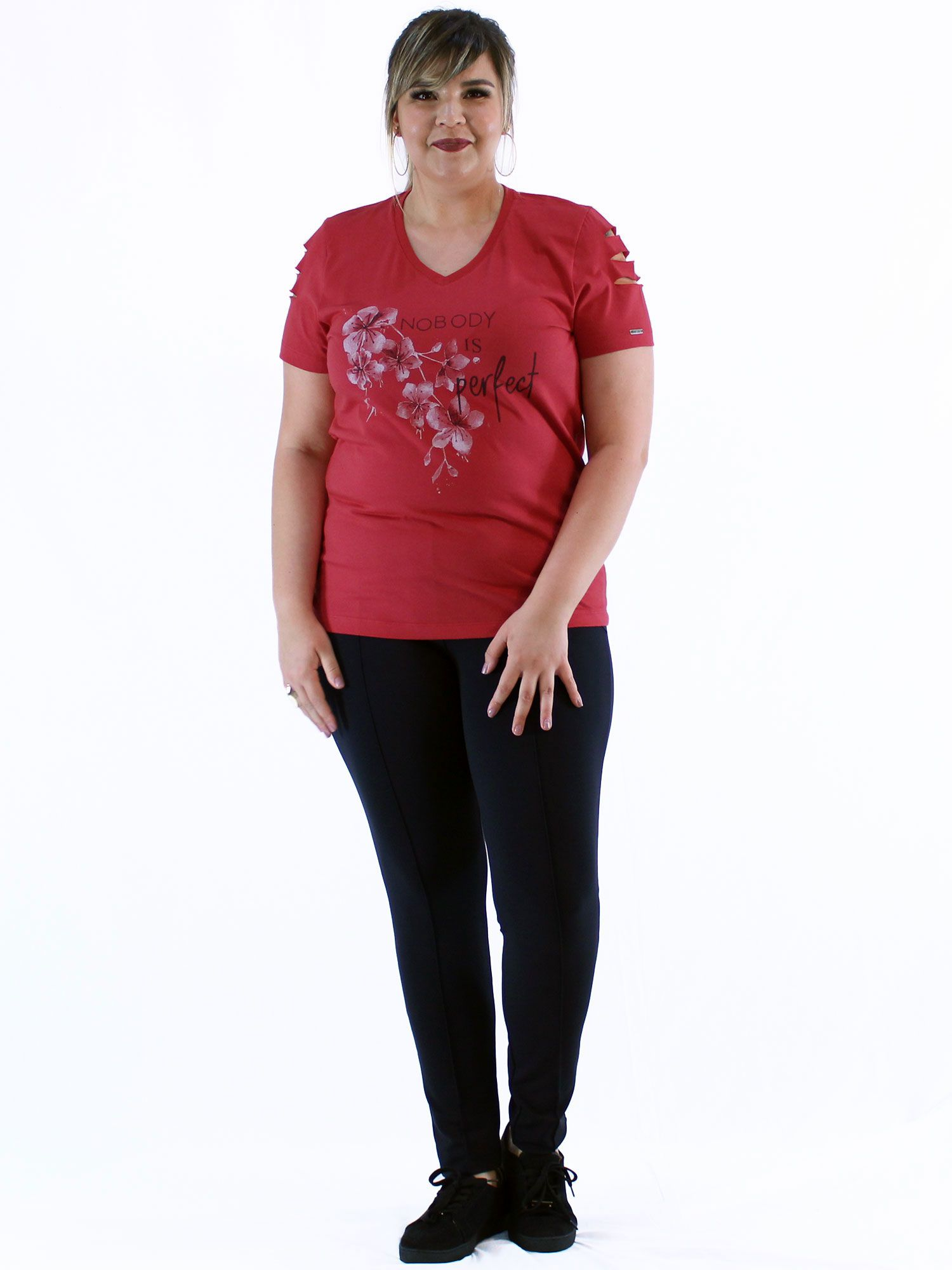 Blusa Decote V Plus Size KTS com Estampa Flor Vermelho