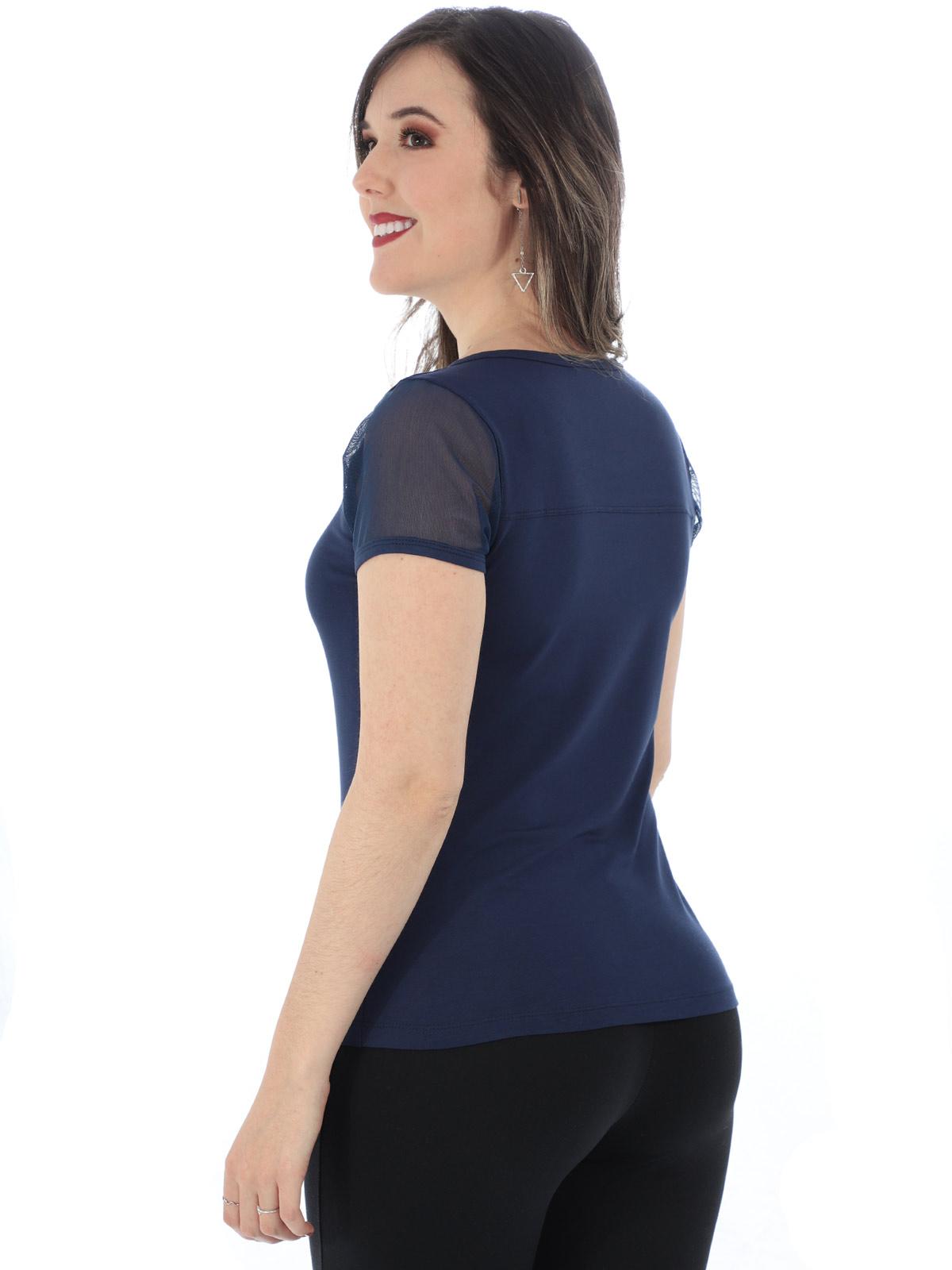 Blusa Feminina Com Estampa Manga Curta em Tule Azul Marinho
