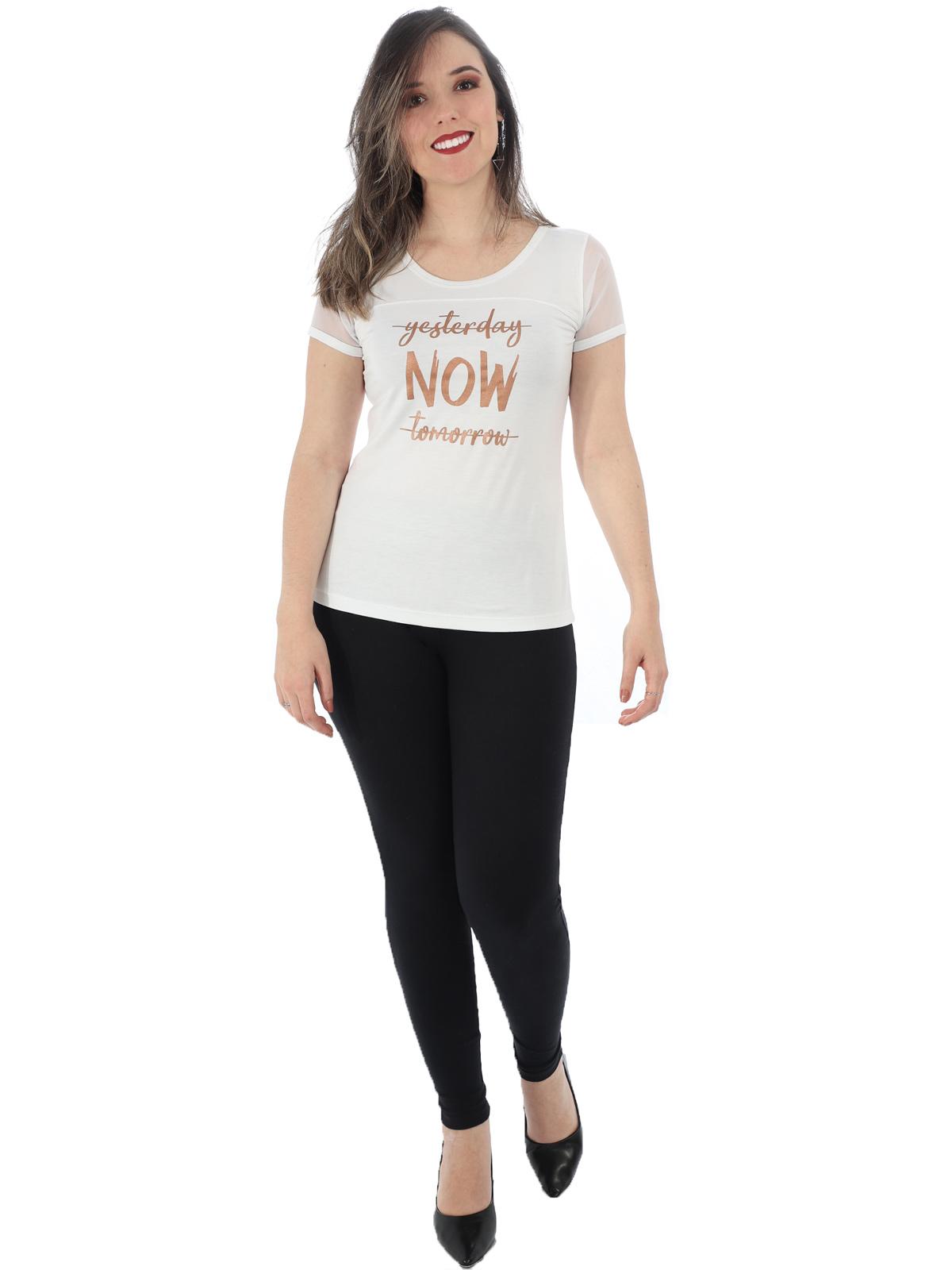 Blusa Feminina Com Estampa Manga Curta em Tule Branca