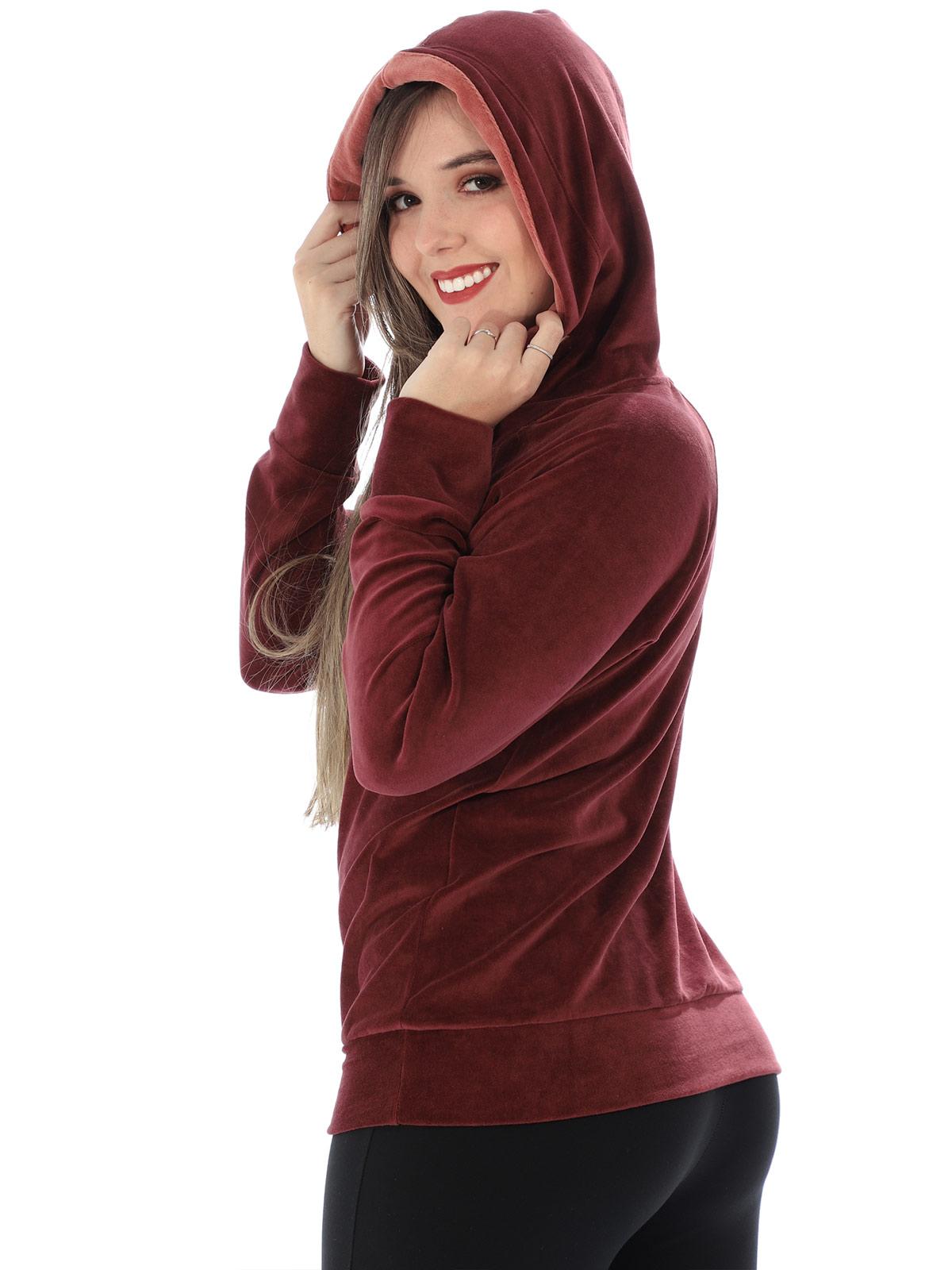 Blusa Feminina de Plush Com Capuz Ajustável Anistia Bordo