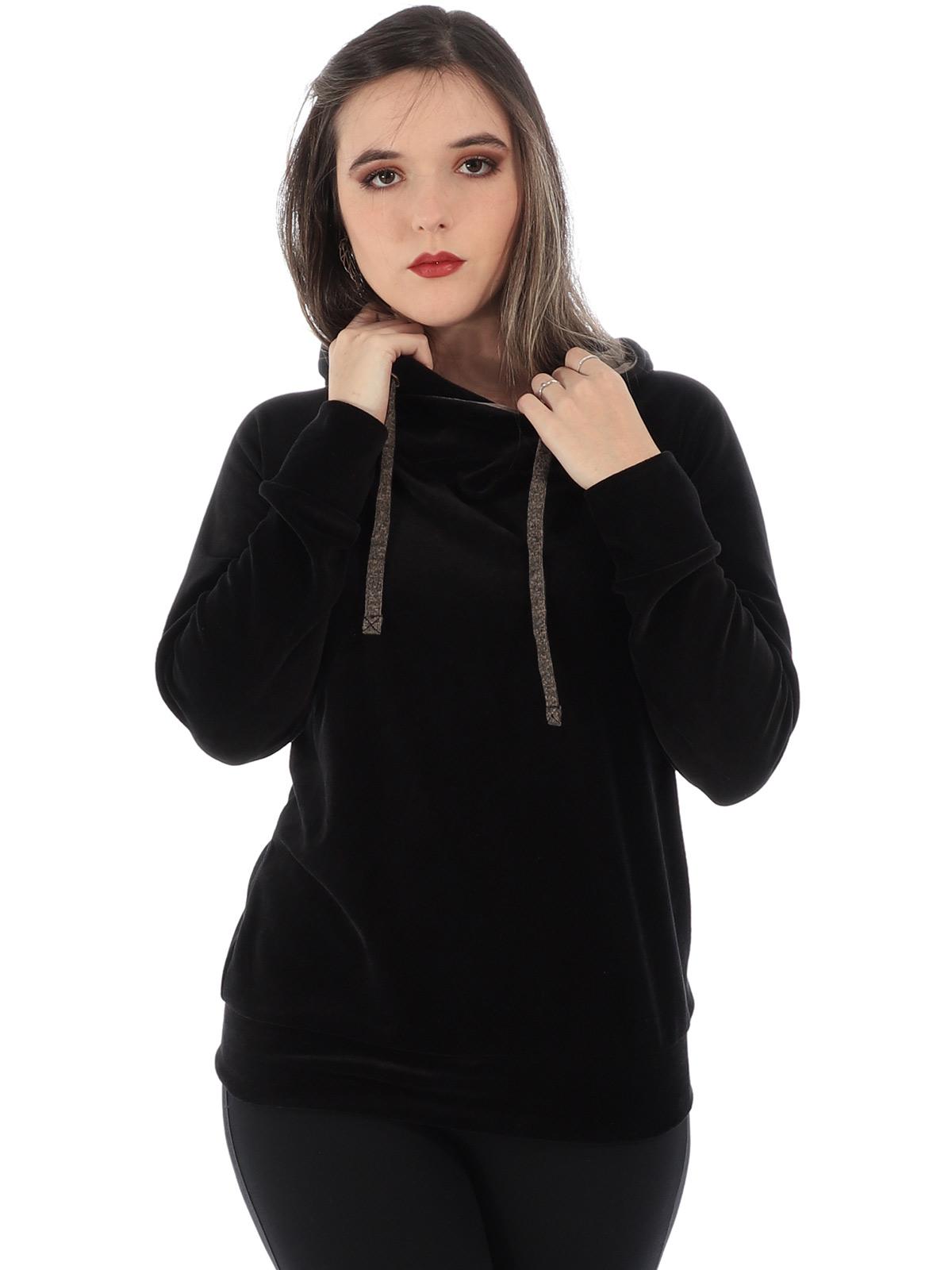 Blusa Feminina de Plush Com Capuz Ajustável Anistia Preta