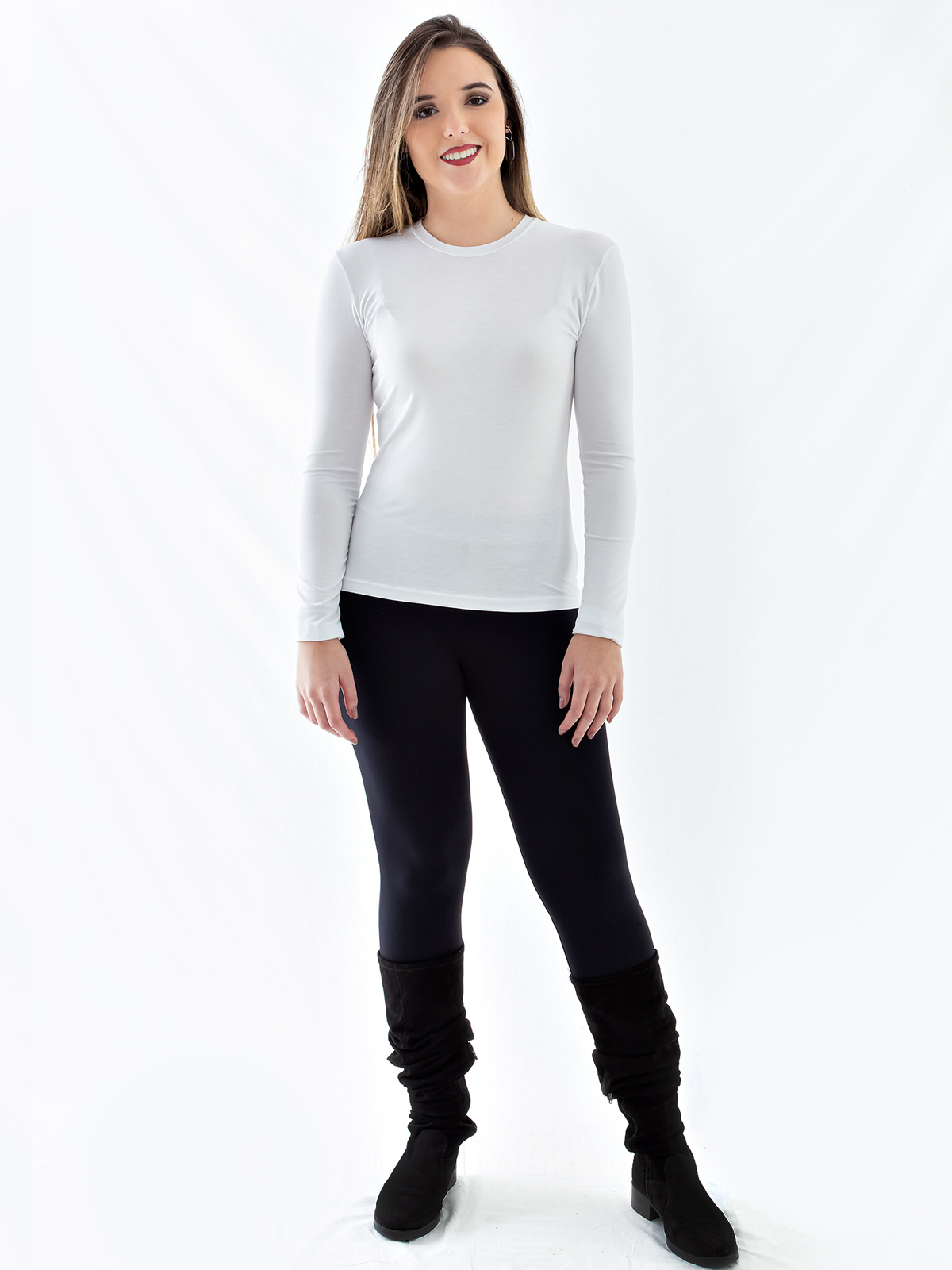 Blusa Feminina de Visco Gola Careca Básica Manga Longa Branca