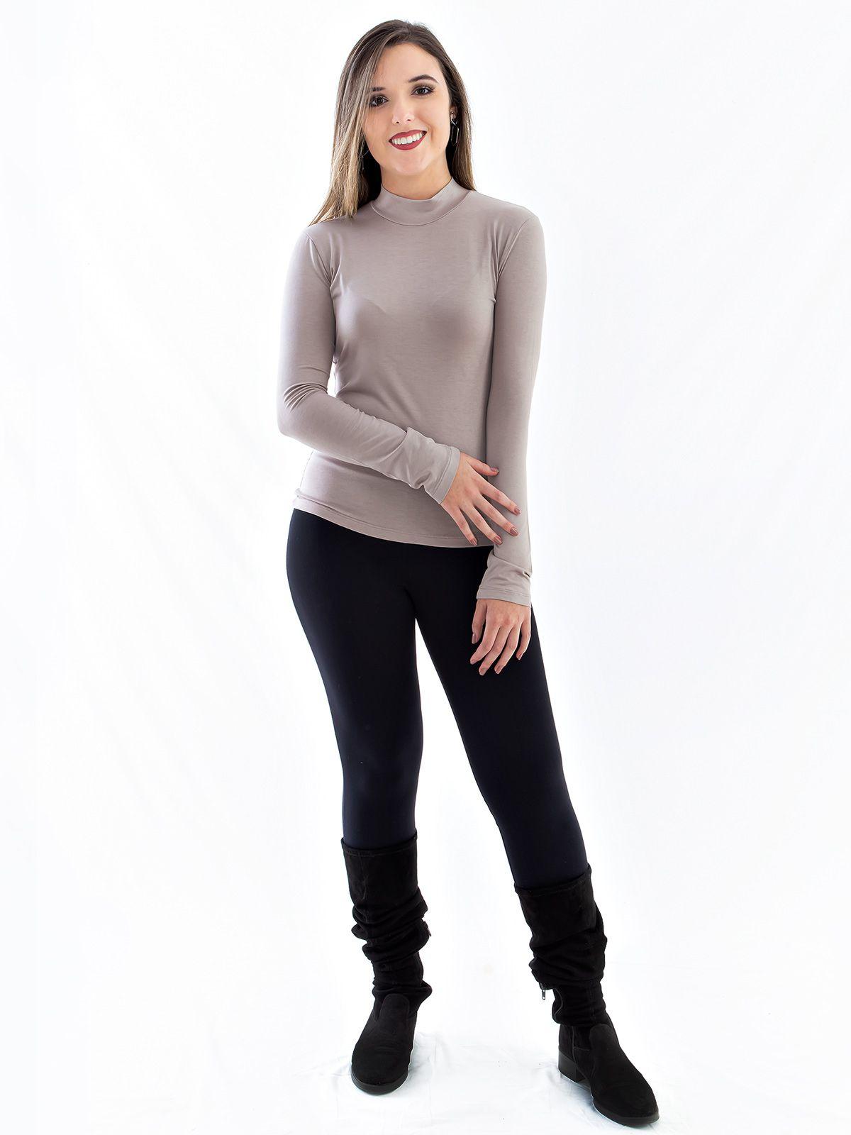 Blusa Feminina de Viscolycra Gola Alta Anistia Areia