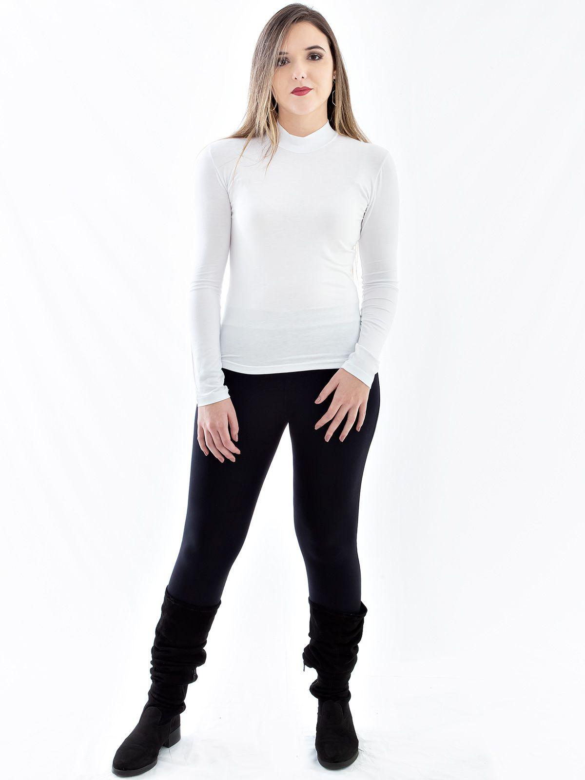 Blusa Feminina de Viscolycra Gola Alta Anistia Branca