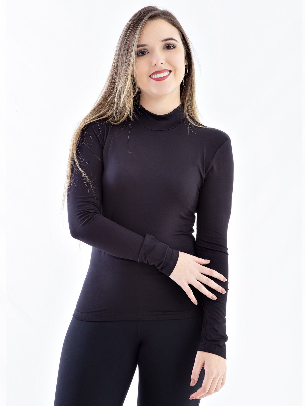 Blusa Feminina de Viscolycra Gola Alta Anistia Preta