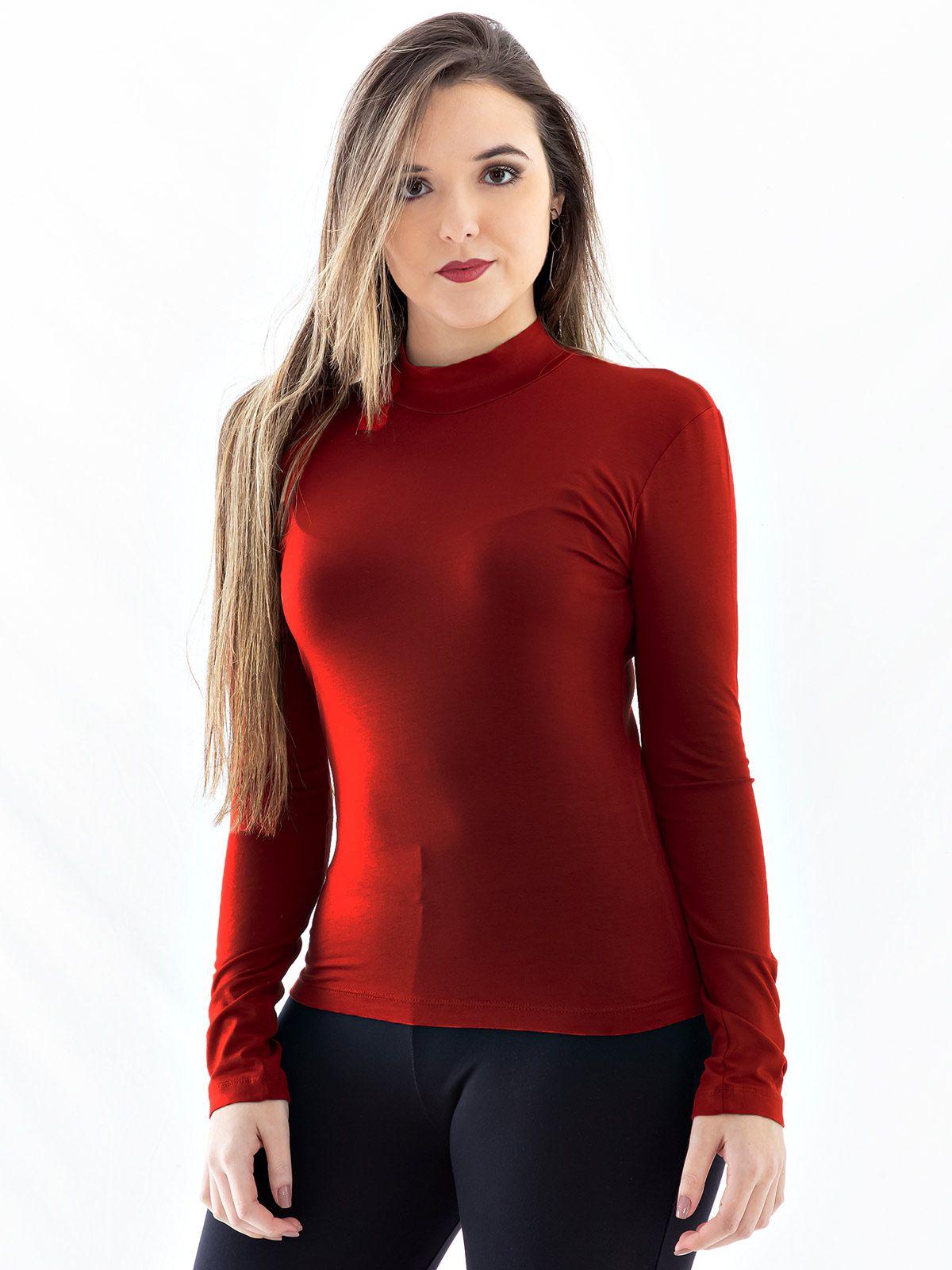 Blusa Feminina de Viscolycra Gola Alta Anistia Tijolo