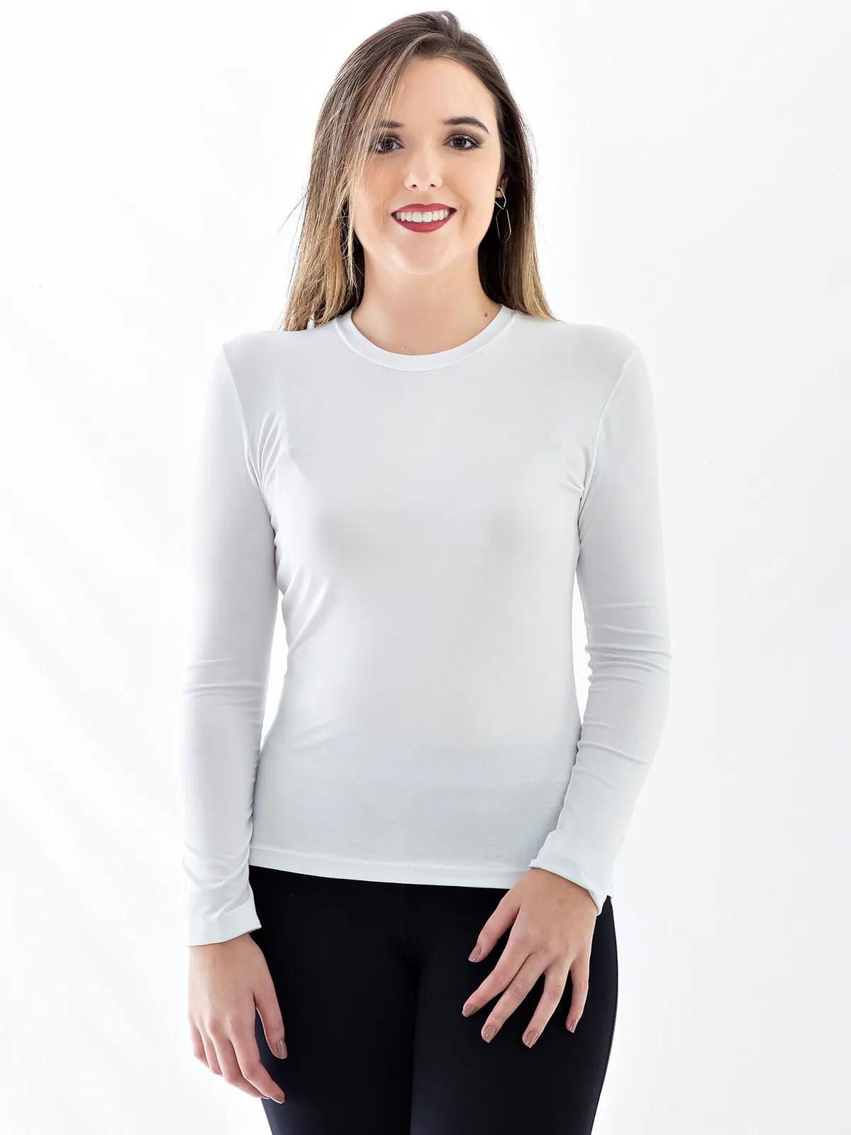 Blusa Feminina de Viscolycra Gola Careca Básica Manga Longa Branca