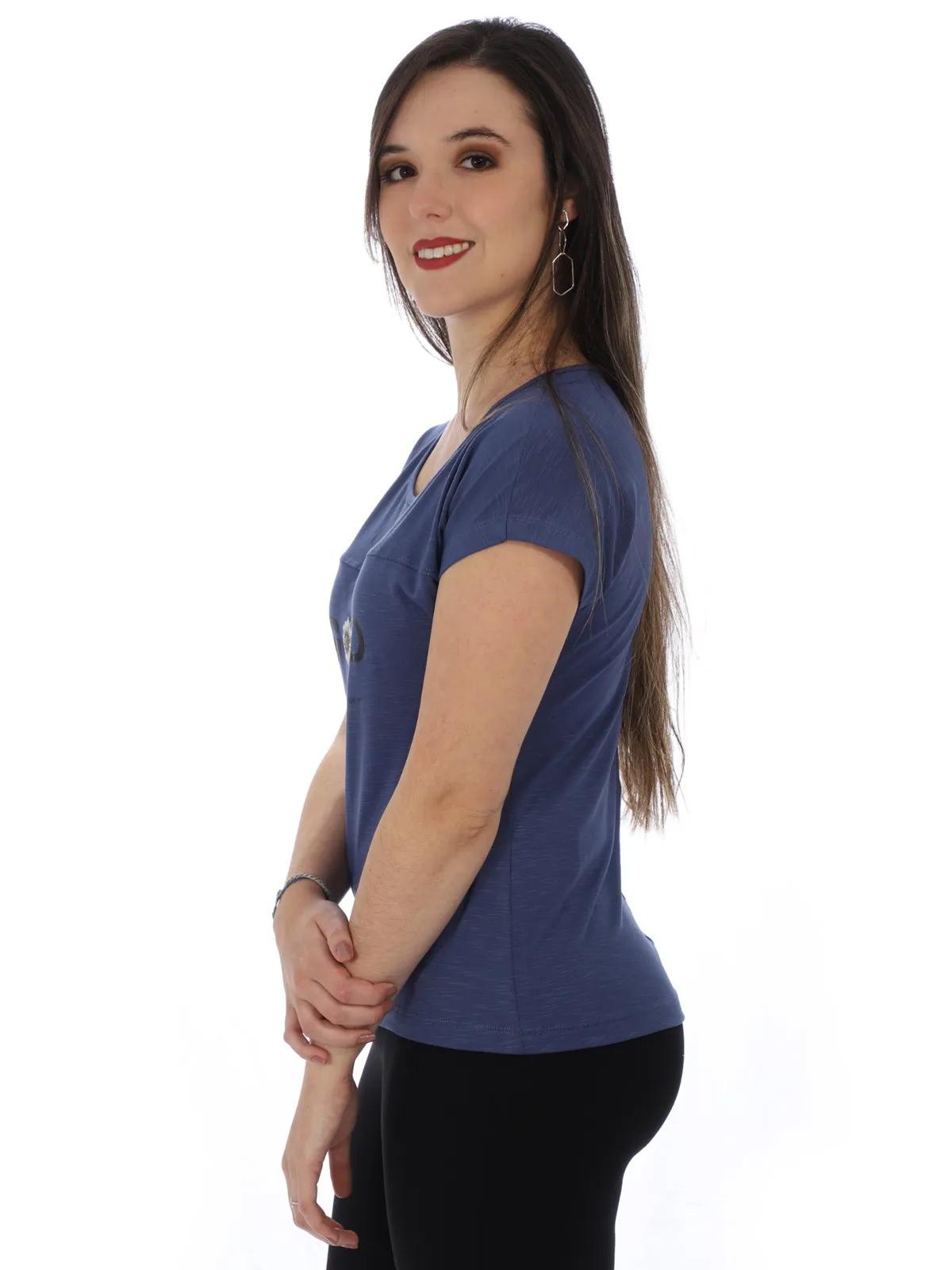 Blusa Feminina Decote Canoa Manga Curta Com Estampa Azul