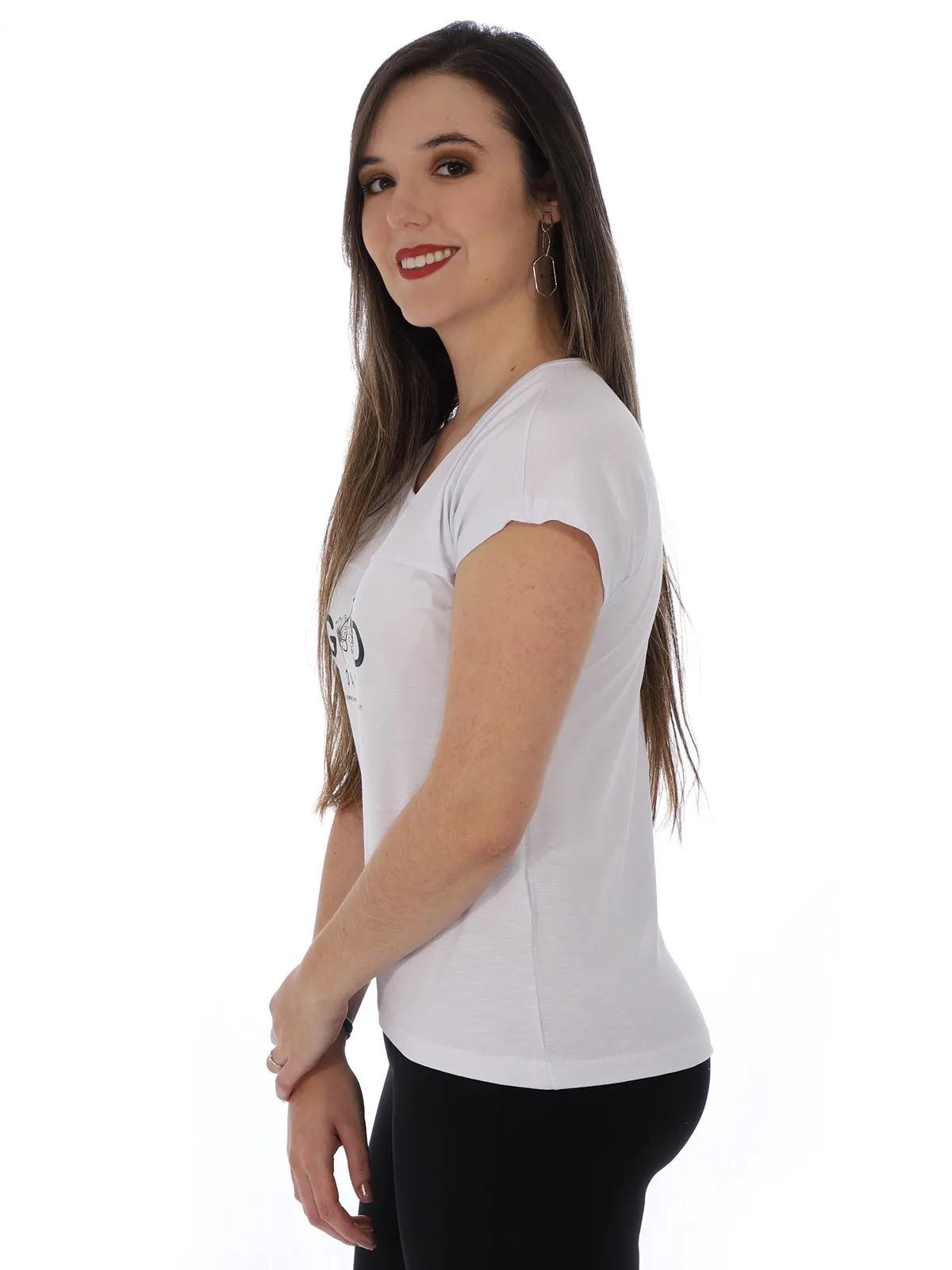 Blusa Feminina Decote Canoa Manga Curta Com Estampa Branca