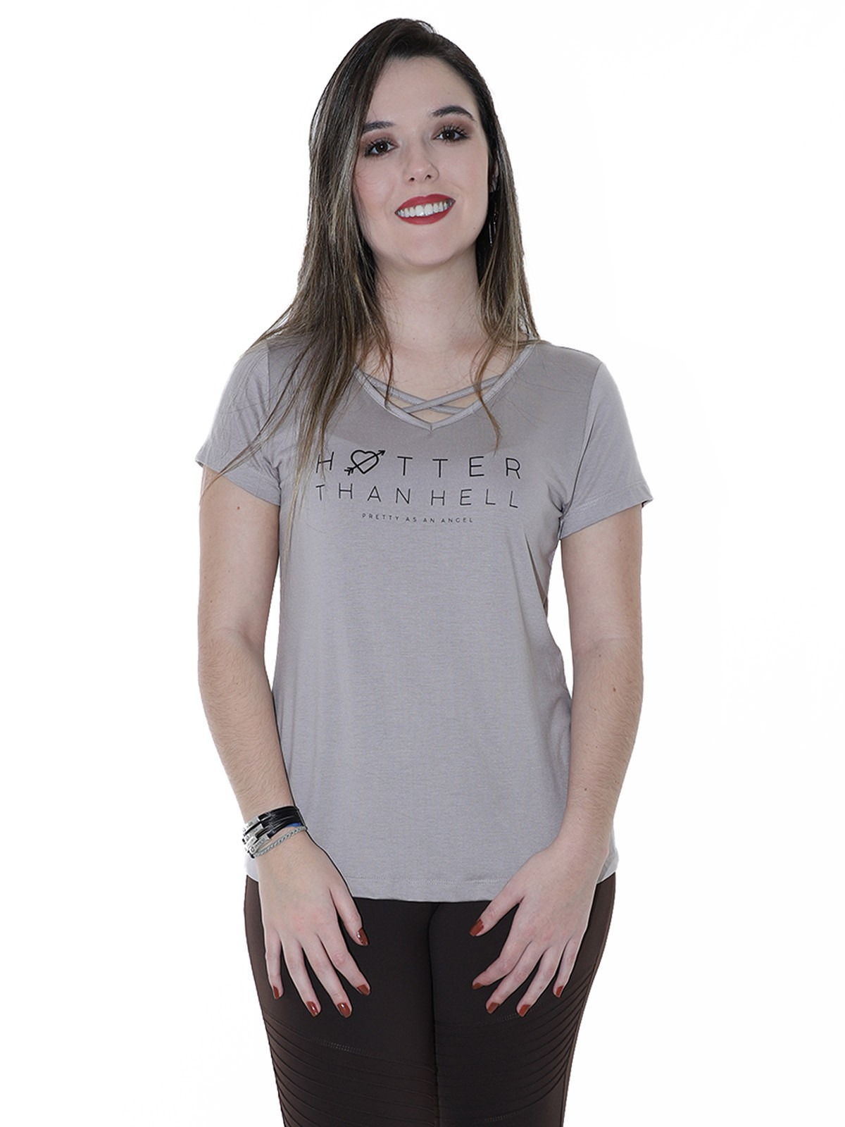 Blusa Feminina Longuete Decote Com Viés Anistia Areia
