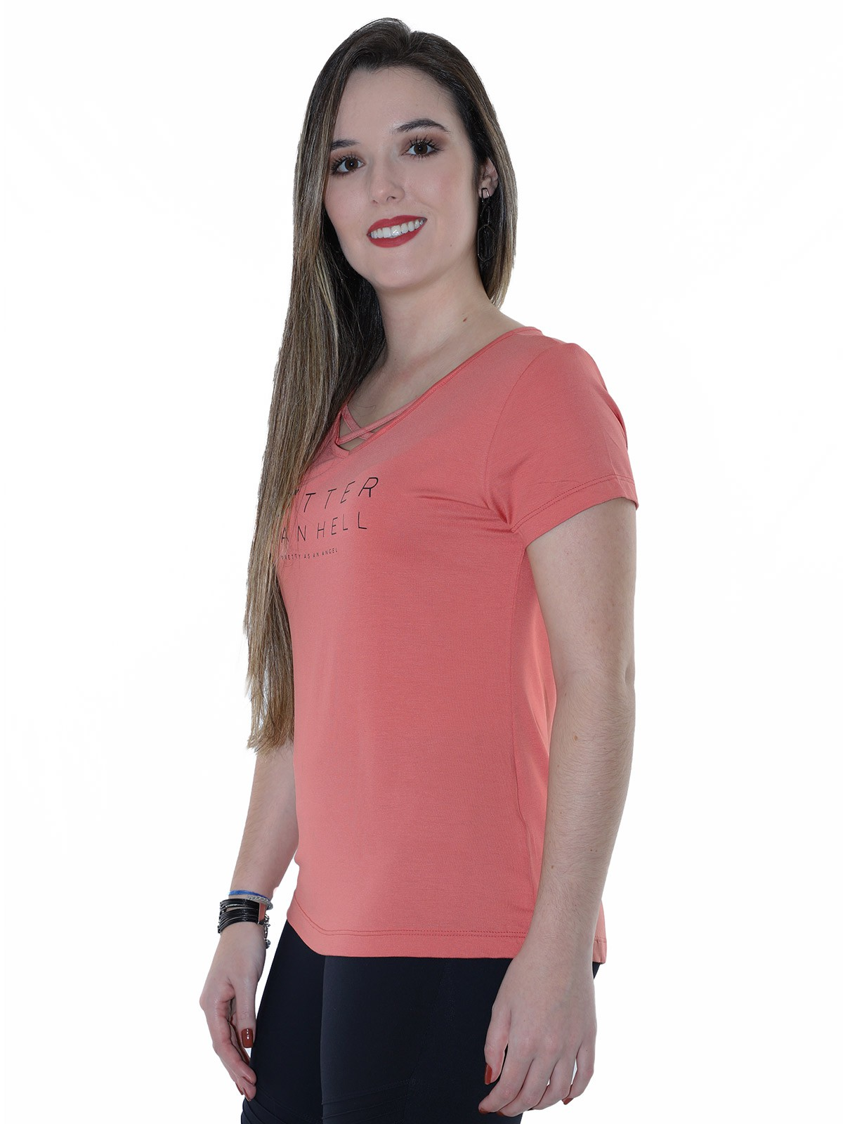 Blusa Feminina Longuete Decote Com Viés Anistia Rosê
