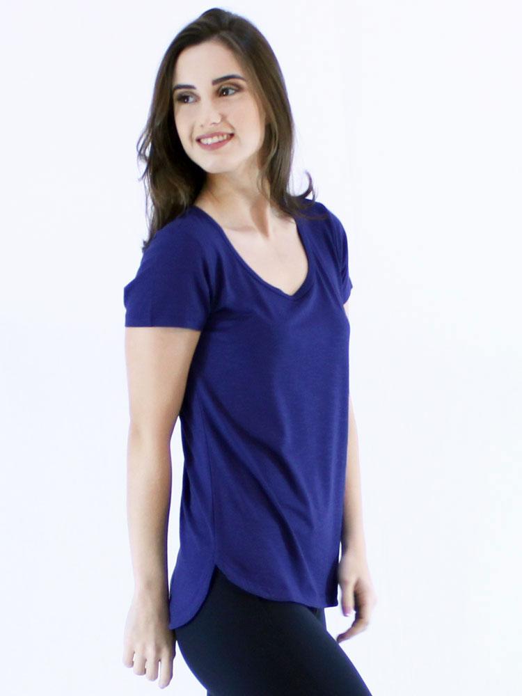 Blusa Feminina Longuete Lisa Viscolycra Flame Manga Curta Azul Bic