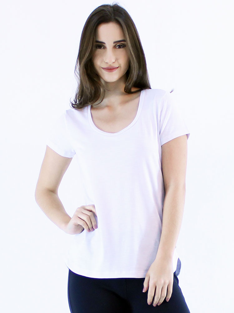 Blusa Feminina Longuete Lisa Viscolycra Flame Manga Curta Branca