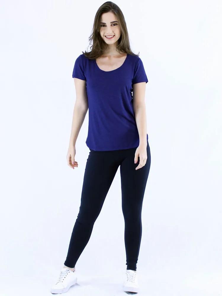 Blusa Feminina Longuete Lisa Viscolycra Manga Curta Azul Bic