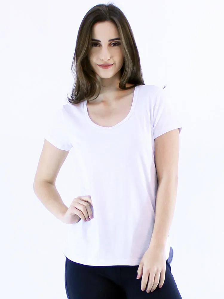Blusa Feminina Longuete Lisa Viscolycra Manga Curta Branca