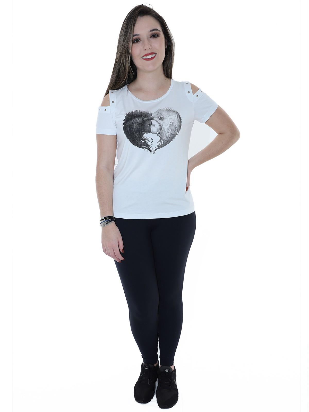 Blusa Feminina Longuete Ombro com Ilhois Anistia Branca